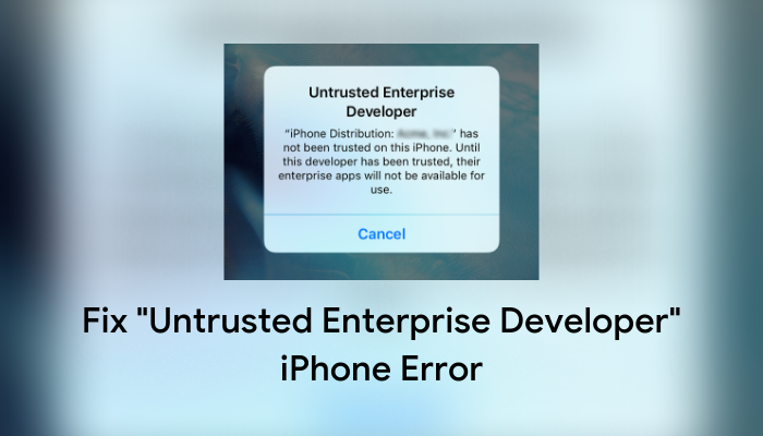 Untrusted Enterprise Developer iphone fix