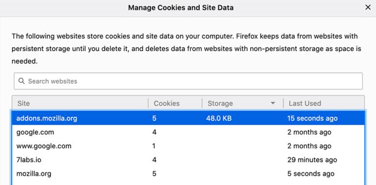 Очистить файлы cookie и кеш для определенного сайта в Chrome, Safar, Firefox и Edge
