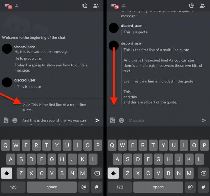 Как процитировать кого-то в Discord