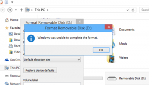"""windows Was Unable To Complete The Format"""" Error"""